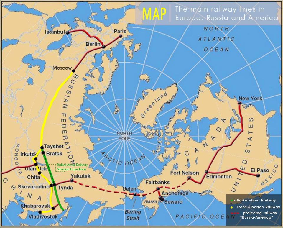 Map Baikal-Amur Railway, second Trans-Siberian Railway