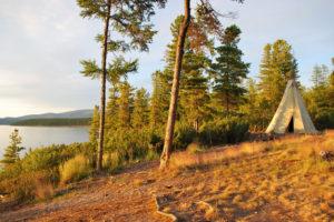 Lake Baikal, siberian evenk wigwam